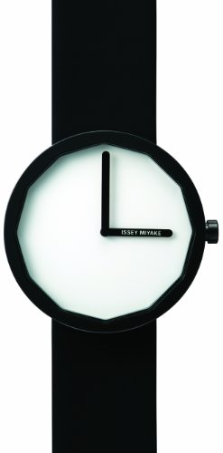 Issey Miyake Twelve White Dial Black Leather Mens Watch SILAP002
