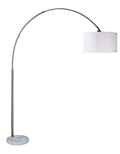 (SH Lighting 6938white-x-large Shade Steel Adjustable Arching Floor Lamp with Marble Base, 81