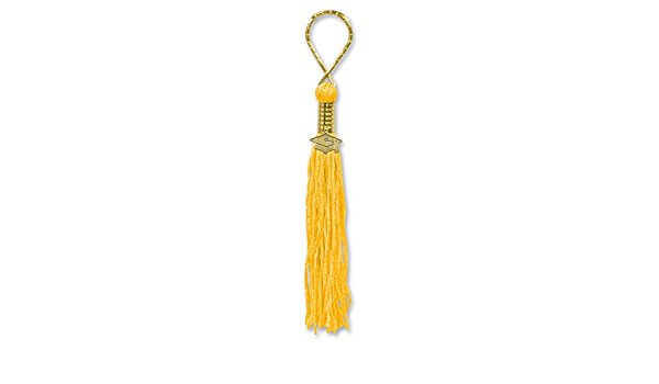 Yellow Cotton Tassel 2 Pcs  GT006-PG-YL Jewelry Supplies 16K Polished Gold Plated over Brass Cap