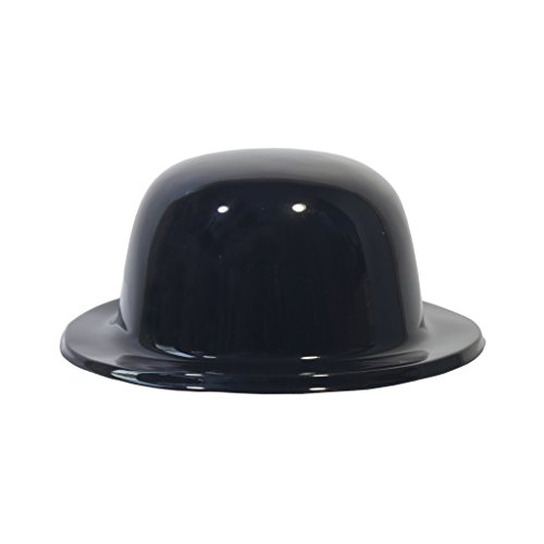 Black Plastic Derby Hat Costume Party Head Wear Accessory W/Ribbon-12 Pack]()