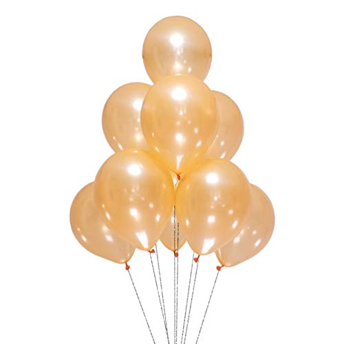 AZOWA Champagne Latex Balloons 12 inch Light Orange Color Balloons Party Balloon Decorations Pack of 100 Balloons Great for Birthday Party Baby Shower Wedding
