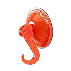 SHJNHAN Wall Door Hook, Oversized Powerful Vacuum Suction Hooks Free Seamless Nail Hook Creative (Orange)