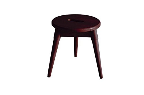 Contemporary Merlot Finish Wood (Arendal Solid Wood Round Tripod Stool in Merlot)