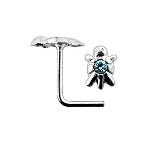 Light Blue Jeweled Turtle Top 22 Gauge Silver L Shape - L Bend Nose Stud Nose Pin