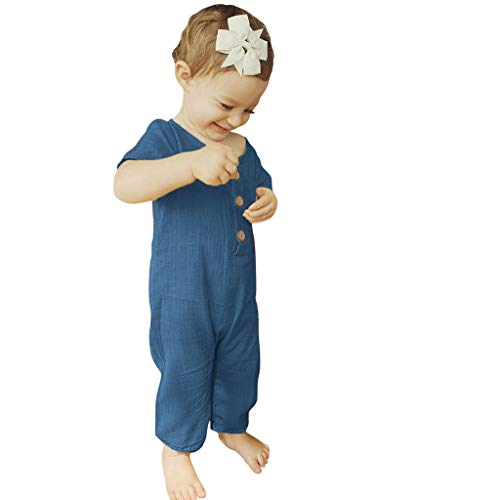 QBQCBB Summer Infant Baby Boys&Girls Short Sleeve Ruffles Solid Romper Jumpsuit Clothes(Blue,80) ()