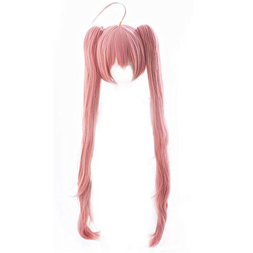 Milim Nava Cosplay Wigs Xcoser That Time I Got Reincarnated as a Slime Light Pink Straight Hairs with 2 Ponytails for Women