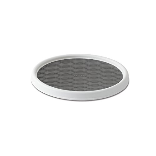 Single Turntable - Copco 2555-0190 Non-Skid Pantry Cabinet Lazy Susan Turntable, 12-Inch, White/Gray