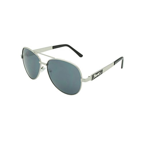 Georgio Caponi Cheetah Metal Frame Aviator Sunglasses (Silver & Black, ()
