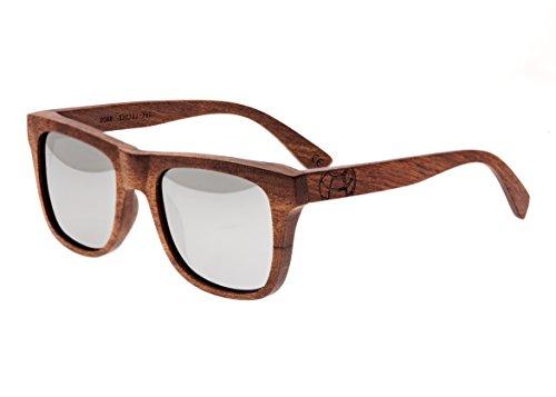 Earth Wood Unisex-Adult Earth Wood Hampton Wood Sunglasses ESG036R Polarized Wayfarer Sunglasses, Red Rosewood//Silver, 54 - Wood Sunglasses Earth Polarized