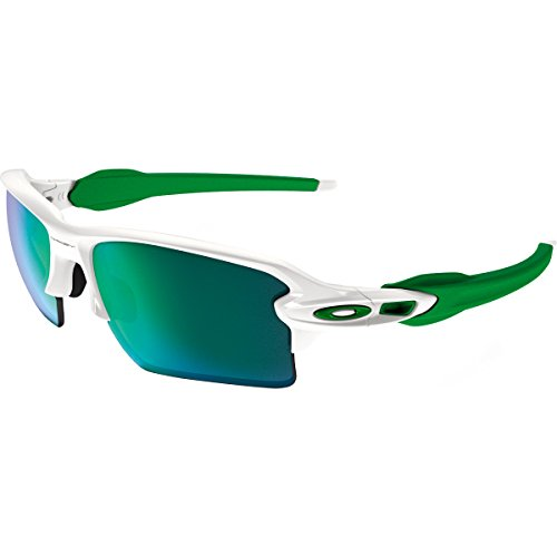 Oakley Men's Flak 2.0 Xl Non-Polarized Iridium Rectangular Sunglasses, Polished White w/Jade Iridium, 59 - Oakley Iridium Green Lens