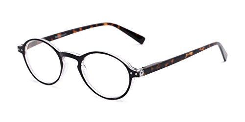 Readers.com The Studio +1.00 Black and Tortoise Round Frame with Keyhole Bridge Reading Glasses (Fashion Keyhole)