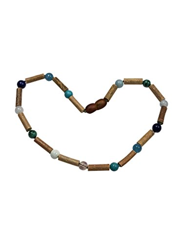 Baltic Amber and Hazelwood Necklace. Colic, Reflux and Teething. Individually Knotted. for Babies and Toddlers. (Blue Gemstones/Hazelwood)