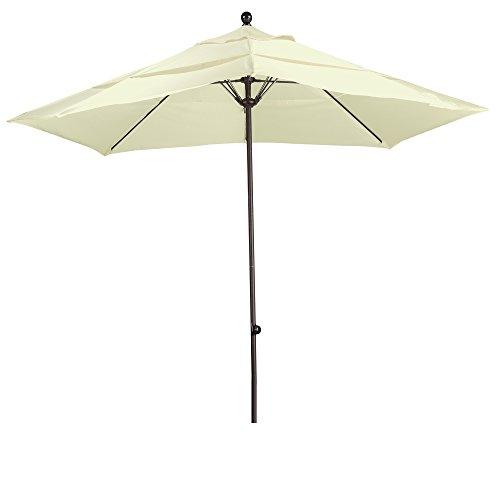 Square Fiberglass Market Umbrella - California Umbrella Square Aluminium Frame/Fiberglass Rib Market Umbrella, 11', Bronze Sunbrella Natural