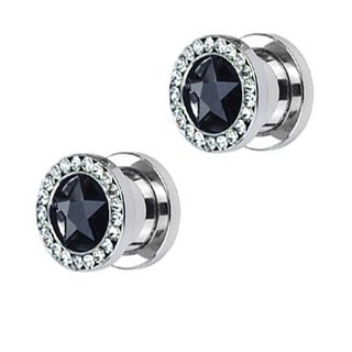 316L Surgical Steel Screw Fit Hollow Tunnel with Black/Clear Star Gem and Multi-Gemmed Rim - - Star Gemmed