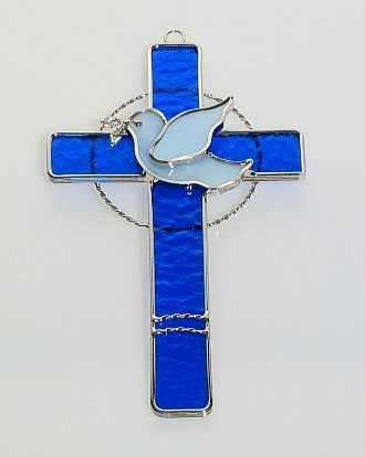 Stained Glass Cross with Dove - Blue stained glass decor