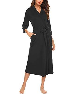MAXMODA Women Kimono Robes Cotton Lightweight Long Robe Knit Bathrobe Soft Sleepwear V-Neck Ladies Loungewear S-XXL