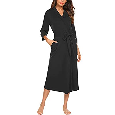 MAXMODA Women Kimono Robes Cotton Lightweight Long Robe Knit Bathrobe Soft Sleepwear V-Neck Ladies Loungewear S-XXL at Women's Clothing store