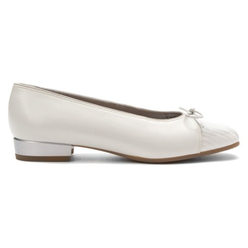 Ara Womens Bel Ballet Flat White Calf / Marbelized Patent