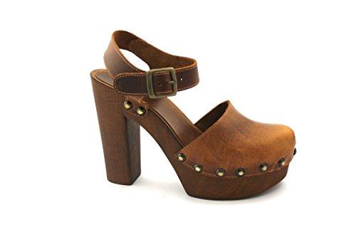 DIVINA LOCURA 264 sandalias de cuero del talón punta cerrada mesetas Marrone
