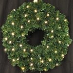 Queens of Christmas WL-GWSQ-03-LWW-BAT Battery Operated Pre-Lit LED Sequoia Christmas Wreath, 3', Warm White