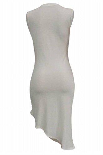 Partie Imprimée Irrégulière Froncée Moulante Femmes Domple Blanche Sans Manches Robe Volantée