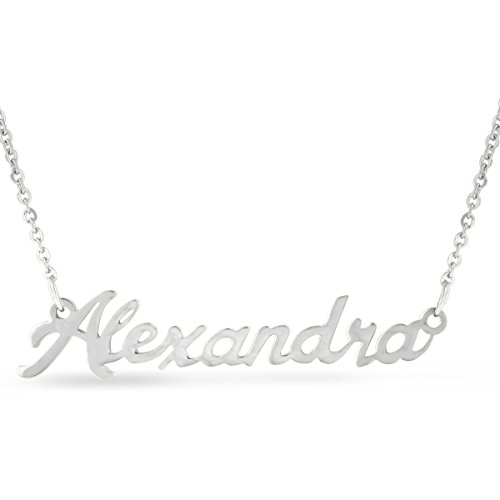 Nameplate Chain Necklace - Alexandra Nameplate Necklace In Silver Tone
