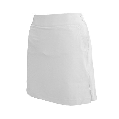 Monterey Club Ladies Stretchable Peach Twill Solid Skort #2877 (Optical White, Size:4)