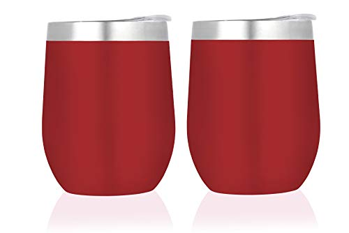 SIPS- Insulated Wine Tumbler with Lid. Set of 2 wine glasses, 12 oz, double wall portable vaccuum insulation 18/8 tumblers for travel, outdoors, camping- Red