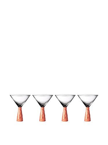 Fitz and Floyd Daphne Martini Glasses (Set of 4), Copper by Fitz and - & Floyd Fitz Glass Art