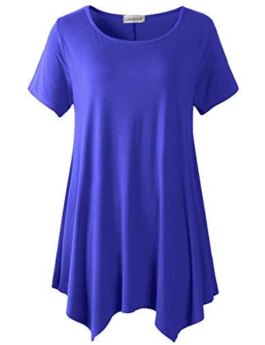 LARACE Plus Size Round Neck Flare Tunic Top for Leggings(2X, Blueish - Rock Shirt Tee