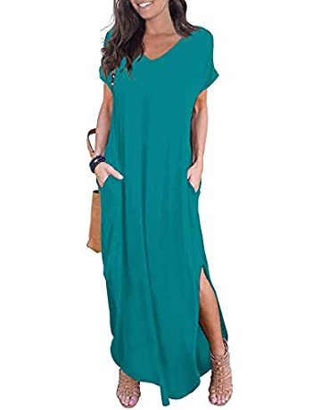 bcb88ed1aa GRECERELLE Women's Casual Loose Pocket Long Dress Long Sleeve Split Maxi  Dresses