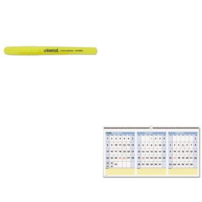 KITAAGPM1528UNV08851 - Value Kit - At-a-Glance QuickNotes Three-Month Horizontal Wall Calendar (AAGPM1528) and Universal Pocket Clip Highlighter (UNV08851)