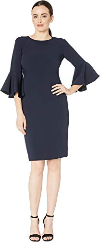 Tahari by ASL Women's Bell Sleeve Stretch Crepe Sheath Dress Navy 12 ()