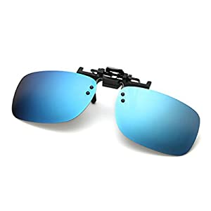 Raylans Polarized Adult Day Night Vision Flip-up Clip-on Lens Driving Glasses Sunglasses Blue L