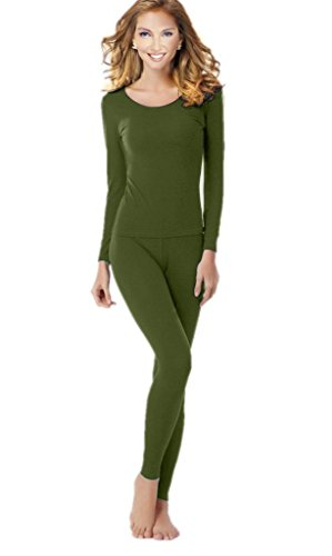 uYES Women's Thermal Underwear Set Top & Bottom Fleece Lined, W1-Army Green, Small ()
