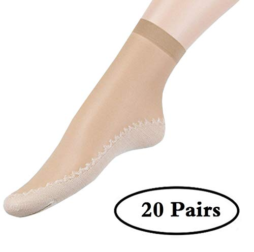 Women's Ultra-Thin Short Stockings, 10 Pairs/20Pairs, Anti-Slip Cotton Sole, Ankle High Sheer Socks Silky Smooth Tights (Beige-20 pairs)