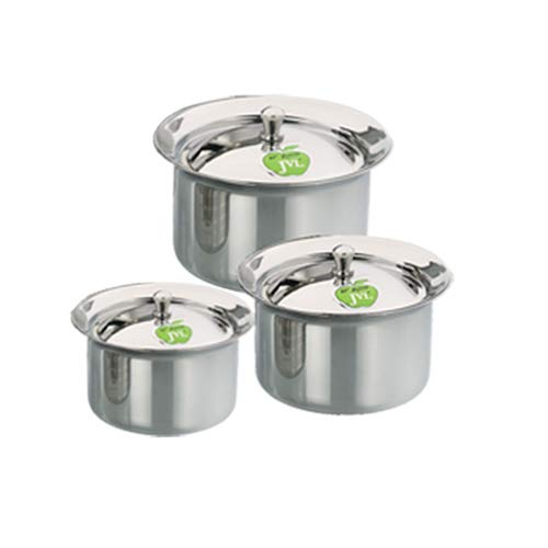 JVL Small Size Stainless Steel Cooking Kitchen Formal Mirror Polish Handi Vessel with Lid – 225ml, 350ml, 500ml – 3 Pcs Set (Product Code – FH-1X3P) Price & Reviews