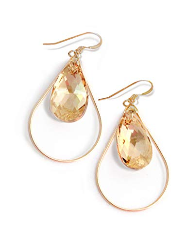 SELFIE Swarovski Crystal Earrings In Champagne Nude | Gold Drop Earrings For Women | Teardrop | Gold Dangle | 14K Gold Filled | Hypoallergenic | Women Jewelry | Birthday Wedding Bridesmaid gifts ()