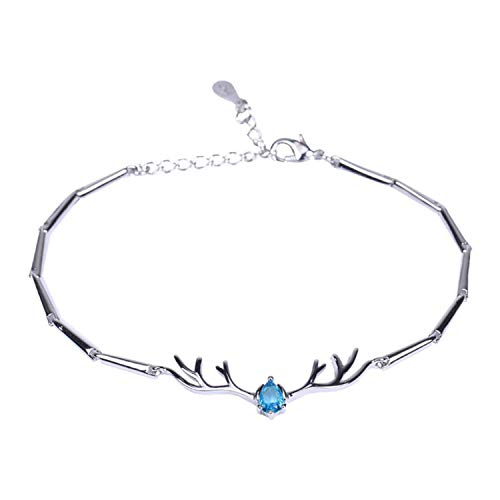 Small Antlers Bracelet for Women Copper Ladies Deer Shape Jewelry for Girl Silver Color Hand Chain Gift Lady,1,China
