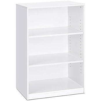 FURINNO Jaya Simple Home 3-Shelf Bookcase, White
