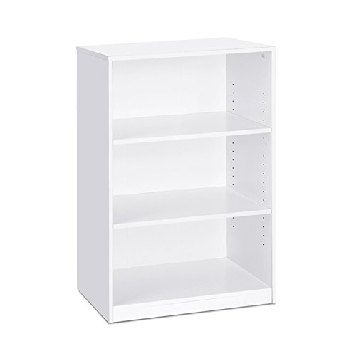 (Furinno 14151R1WH 3-Shelf Bookcase, 3-Tier, White )