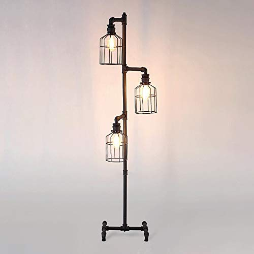 NIUYAO Industrial Style 60'' High Track Tree Floor Lamp Iron Cage 3 Lights Pipe LED Floor Light Fixture Black