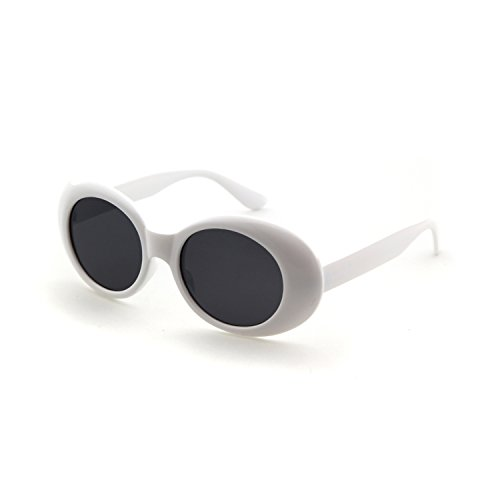 Clout Goggles Oval Sunglasses Mod Style Retro Thick Frame Kurt Cobain Inspired Sunglasses With Round Lens Vintage (White, 51)