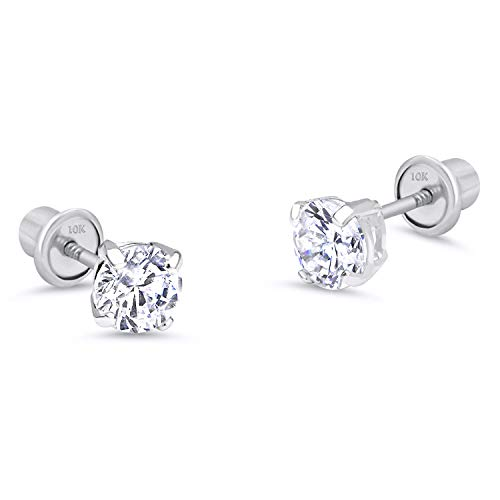 10k White Gold 5mm Basket Round CZ Cubic Zirconia Solitaire Children Screw Back Baby Girls Earrings
