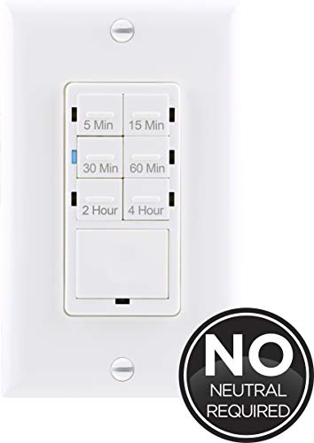 GE Push-Button Countdown Timer Switch, 5-15-30 Minute/1-2-4 Hour, ON/Off, No Neutral Wire Needed, Ideal for Lights, Exhaust Fans, Heaters, Wall Plate Included, 15318