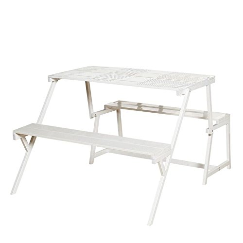 Target Marketing Systems The Arlo Collection Modern Style Folding Metal Convertible Dining Table and Bench, White Finish
