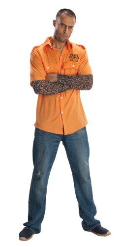 Prisoner Costume Orange (Rubie's Costume Prisoner Shirt With Tattoo Sleeves, Orange, X-Large Costume)