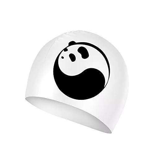 (XREE Yinyang Panda Sport Swim Cap Silicone Resilient Waterproof Solid Swimming Cap, Anti-Slip Interior, Suitable for Long or Short Hair)