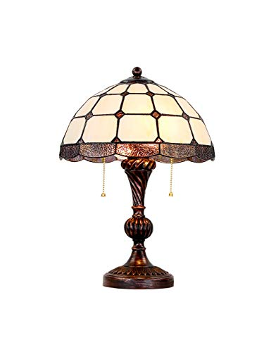 (Zloader Vintage Pastoralism Cream-Coloured Table Lamp Stained Glass Retro Stylish Simple Artistic 12 Inches for Office Desk)