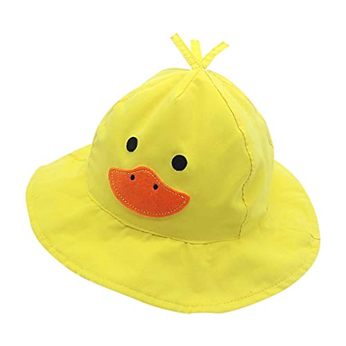 Military Tweed Hat - CCSDR Baby Dome Cotton Cap Summer Kids Cartoon Duck Flat Brim Breathable UV Protection Hat Yellow